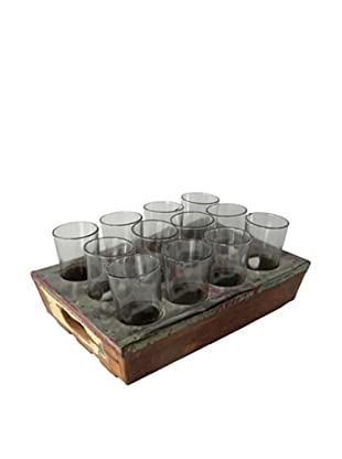 Nine Hole Wood Drink Tray & Glasses