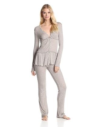 Valery Sleepwear Women's Cinderella Pointelle 2-Piece PJ Set (Beige)