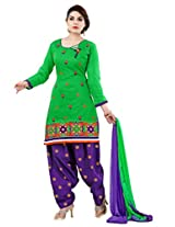 Hina Women's Green Chanderi Cotton Unstitched Dress Material
