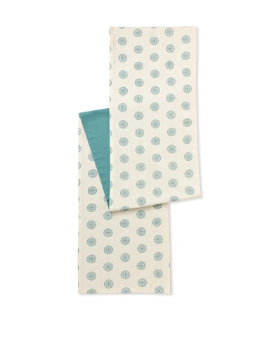 Handmade Interiors Chakra Hand Screened Printed Table Runner (Duck Egg Blue)
