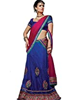 DesiButik's Wedding Wear Lovely Blue Net Lehenga