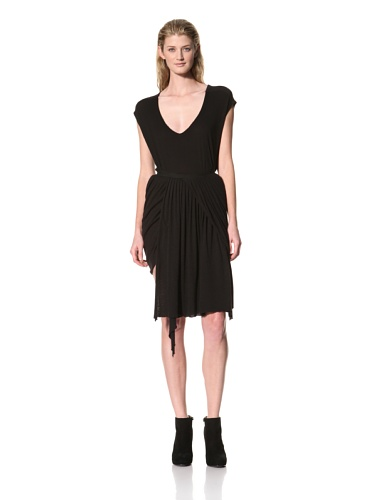 RICK OWENS Women's Short Drape Pieced Skirt (Black)