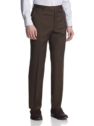 Giorgio Valentini Men's Flat-Front Pants (Brown)