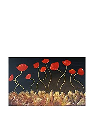 Legendarte Panel Decorativo Luminoso Fiori Sulla Roccia 60X90 Cm multicolor