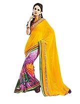 Gopalclothdesigner Georgette Resham Saree (iwgy05_Yellow)