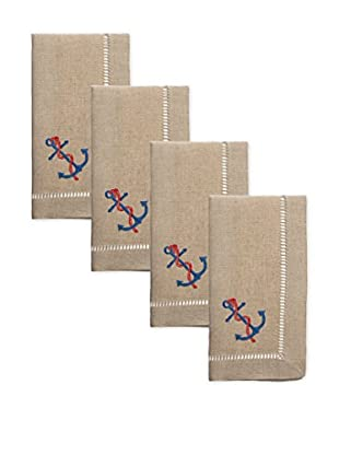 Henry Handwork Set of 4 Anchor & Rope Embroidered Napkins, Natural