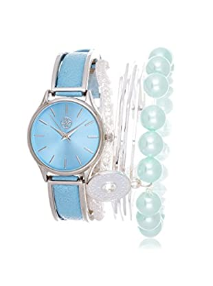 Arm Candy Women's NXS5289-PBL Fortune NYC Blue Leather Watch & Bracelet Set