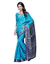 Brijraj,Blue Poly Silk Beautifull Saree With Unstitch Blouse