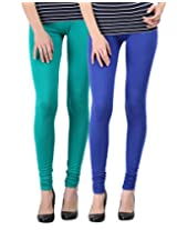 Blackmilan Women's Leggings (ZBMWL-1004-Green-Rblue_Multi-Coloured_Small)