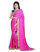 Vibes Women's Bhagalpuri Art Silk Saree,With Blouse (S54-VBK175_Pink)