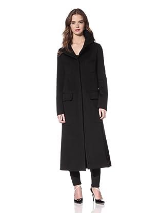 NINA RICCI Women's Wool Wide Notch Collar Coat (Black)