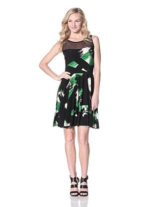 KAMALIKULTURE Women's Dress with Mesh Yoke (Green/Black/Off-White)
