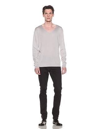 Halston Men's V-Neck Sweater (Light Grey)