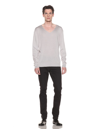 Halston Men's V-Neck Sweater (Light Grey)
