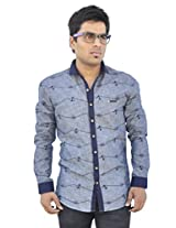 Apris S3125-GREY Mens cotton Full sleeved Casual Shirt-GREY(L)