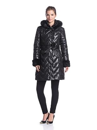 Via Spiga Women's Puffer with Fur Trim and Belt (Black)