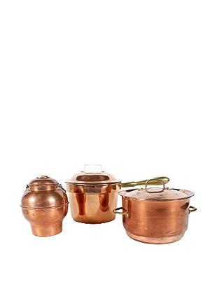 Set of 3 Swedish Copper Pots with Lids, Metallic