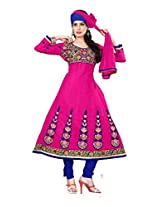 Cotton Printed Pink Anarkali Suit - NIH03
