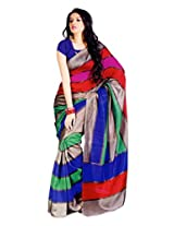 TrendzStyle Multi coloured Art Bhagal Silk Saree with Blouse piece