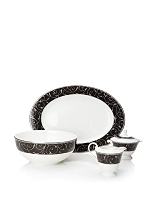 Mikasa Elegant Scroll Black 5-Piece Serve Set