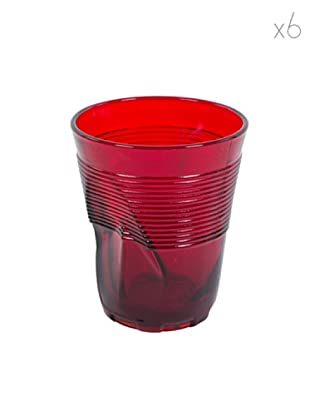 Kaleidos Set 6 Bicchieri Accartocciati 360 ml (Rosso)