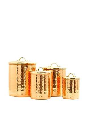 Old Dutch International 4-Piece Copper Hammered Canister Set