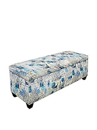 MJL Furniture Sole Secret Large Upholstered Shoe Storage Bench, Blue