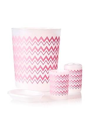 Palace Linens 4-Piece Wastebasket Set, Pink