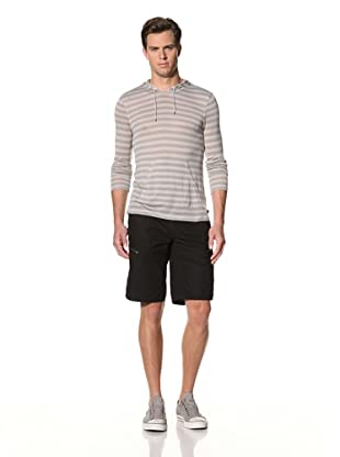 John Varvatos Star USA Men's Long Sleeve Striped Hoodie Pullover (Dew)