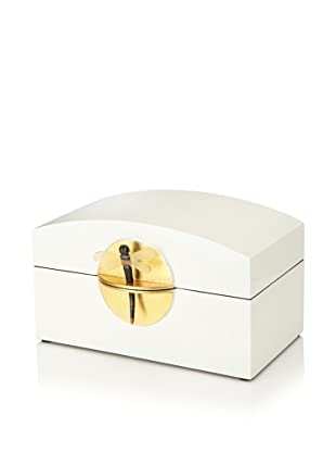 Mili Designs Lacquer Organization Box with Gold-Tone Lock (White/Gold)