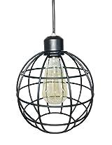 Prop It Up Spherical Metal Black Hanging Light (16cmX16cm) with Eidson Bulb