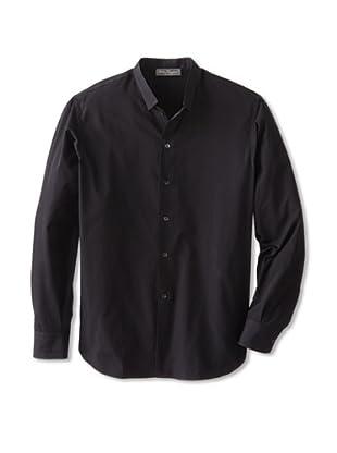 Salvatore Ferragamo Men's Narrow Collar Dress Shirt (Black)