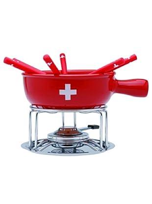 Nouvel Käse-Fondue-Set CH-Kreuz Spezial 9 teilig rot/schwarz