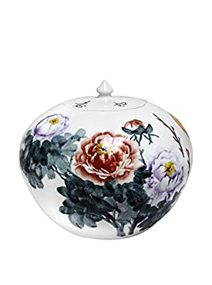 Asian Loft Round Hand-Painted Chinese Blossom Vase with Lid, White/Blue/Pink