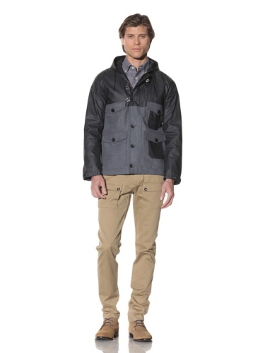 Shades of Grey by Micah Cohen Men's Two-Tone Hooded Outdoor Jacket (Gunpowder)