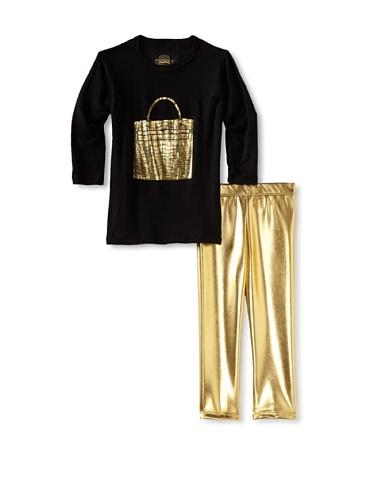 Ivy & Olivia Girl's Foil Legging and Tee Set (Gold/Black)