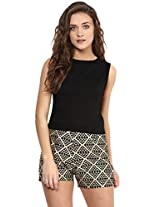 Miss Chase Women's Solid Zippered Crop Top