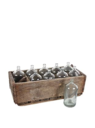 Crate of 10 Seltzer Bottles, Clear/Brown