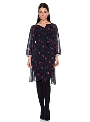 Caramelo Vestido Casual Detalle Flores (Negro)