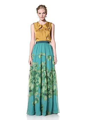 GIAMBATTISTA VALLI Women's Floral Printed Maxi Skirt (Green)