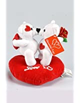 Special Valentine Day Gift Kissing White Teddy Bears On Heart Pillow, With Voice