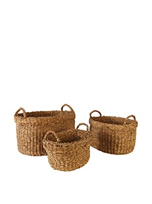 Napa Home & Garden Set of 3 Seagrass Oval Baskets with Cuff
