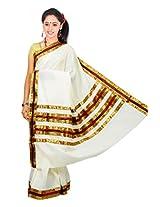 Atex Cotton Lace Saree (Atex70016 _Cream)