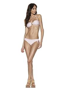 Lunazul Women's Beverly Hills Bandeau Bikini Top & Bottoms (Liz/Pale Pink)