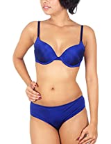 Sugar Lips Satin Lingerie Set (B42, Blue, 38B)