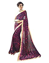 Purple Red Color Georgette Dupion Saree with Border and Blouse 10617