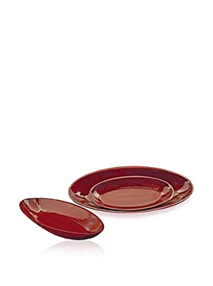 Set of 3 Red Oval Bowls