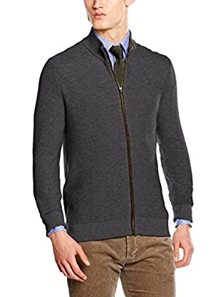 Hackett London Chaqueta Punto Lana Fzip Tuck Stitch