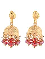 1 gram gold plated jhumki with maroon crystal drops