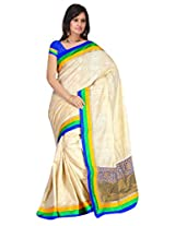 Sehgall Sarees Indian Professional Creme Bhagalpuri Silk with Embriodery